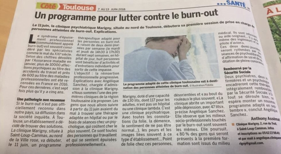 prise en charge de personnes atteintes de burn out